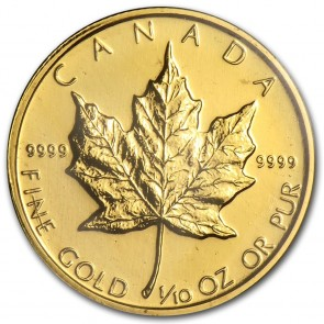 $5 Canadian Gold Maple Leaf One Tenth Ounce (1/10 oz) Coin - 5 Coin Minimum / Dates Our Choice
