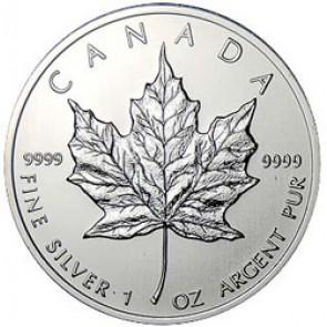 Canadian Silver Maple Leaf 1 oz Coin - (25 Round Tube) (Random Dates)